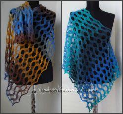 Ажурный шарф палантин   вязаный  Aqua бирюзовая волна