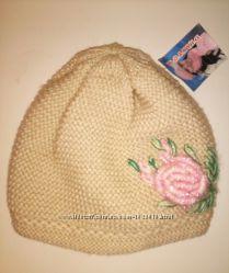 Теплая шапка для девочки 50-54 новая с биркой 50 шерять 50 акрил