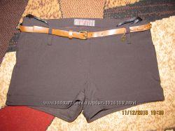 Женские шорты на флисе с ремешком коричневые разм 40 состояние новых