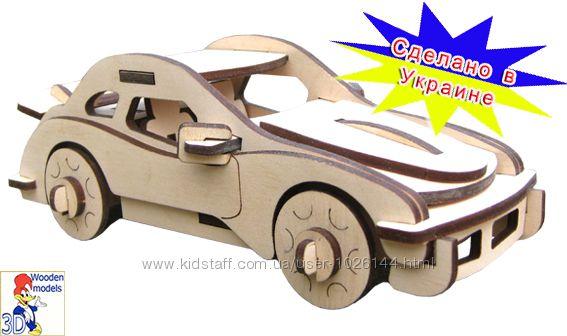 Деревянные 3д пазлы -  машинка порше сборная модель