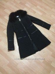 Пальто, нат. мех в цвете черный