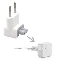 Вилка ЕС евро для Mac Apple. Комплект с адаптером.