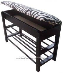 Банкетка для обуви Zebra Black с нишей 10 см