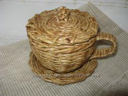 Чашка плетёная с крышкой