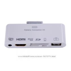 Адаптер кардридер 6в1 USB, AV, HDMI, MICROSD, SD kit для iPad, iPhone