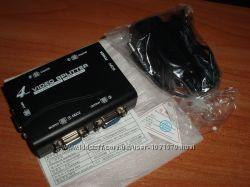 Сплиттер VGA D-Sub 15 DE15 DB15HD 4-х портовый дублликатор усилитель активн