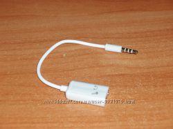 Переходник 3. 5 мм 4 pin папа - 23. 5 мм 3-pin мама наушники  микрофон д