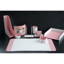 Набор из 9 предметов, натур. кожа, цвет белый-розовый