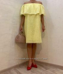 Платье из натуральной прошвы, цвета желтая пастэль