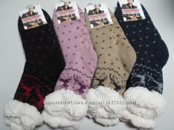 Носки женские,  ангора  на меху с подошвой  Softsail