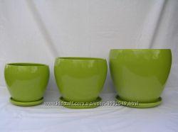 горшки-кашпо керамика пр-во Польша набор  Аретруза 3шт. разные цвета