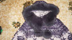 отличное качественное пуховое пальто с натуральным мехом