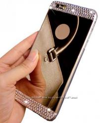Зеркальные силиконовые чехлы со стразами для iphone 4 4S 5 5S 6 6S 6