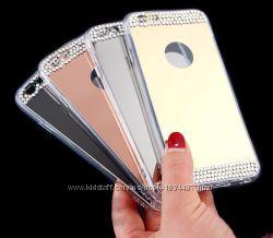 Зеркальные силиконовые чехлы со стразами для iphone 4 4S 5 5S 6 6S 6pl 7 7p