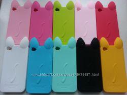 Силиконовый чехол кот iphone 4 4S 5 5S с ушками и лапками