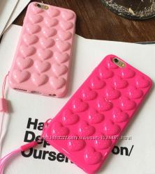 Силиконовый чехол розовые Сердца для iPhone 6 6S