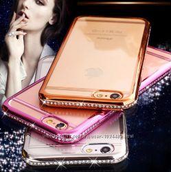 Прозрачный чехол с золотым серебряным розовым ободком для iPhone 5 6 7