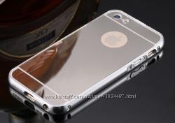 Серебряный чехол для iphone 5 5S 6 6S 7 7S алюминий и зеркальный акрил