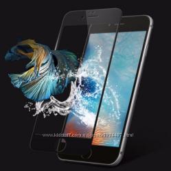 Противоударные 3d стекла на дисплей iphone 6 6s 7 7s 7plus черное и белое