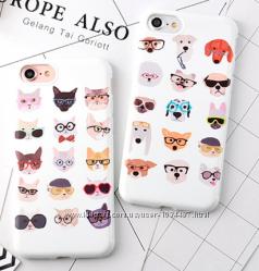Чехол белый с котами или собаками силикон для Iphone 6 6S 7 8 7pl 8pl