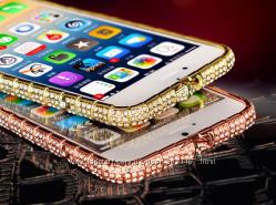 Бампер металлический Swarovski для Iphone 7 8 золотой серебро розовый