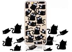 Чехол Коты с бегающими глазами для Iphone 5 5S 6 6S 7 8 силиконовый
