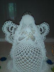 Ангелочек ручной работы из хлопка. Высота 25 см. Размах крыльев 22 см.