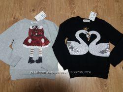 Кофта кофточка свитер H&M, новогодняя кофта с паетками 3-4 года