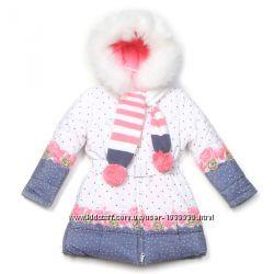Пальто для девочки Кико 104-134р тинсулейт с шарфом