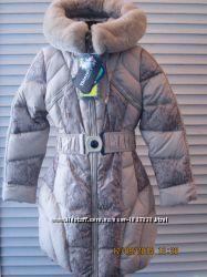Пальто на девочку Кико 134-164р с натуральным мехом