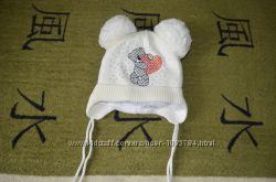 Теплые зимние шапочки на 1-1, 5 года для девочек