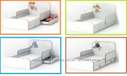 Детская кровать под матрас 90х190 см. 4 дизайна, с бортиками, с ящиками.