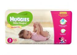 Подгузники  huggies 3 ultra comfort для девочек 5-9кг 56шт