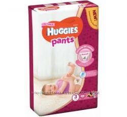 Трусики-подгузники Huggies pants 3 mega для девочек 44шт