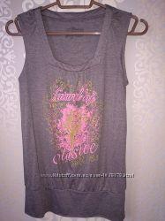 Женская симпатичная футболка LOFT без рукав цвета каппучино XS-S