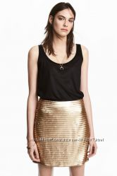 Юбка в пайетки золотая H&M, XS