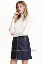 Кожаная юбка H&M, L-XL