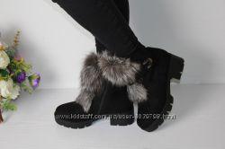 Зимние ботинки с натуральным мехомЧЕРНОБУРКА