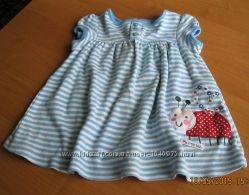 Платье голубое, трикотажное 6-12мес