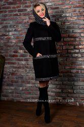 Стильное зимнее пальто с хомутом