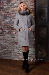 Зимнее пальто с песцом 4 цвета