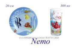Luminarc Nemo - набор из тарелки и стакана - детская серия Немо