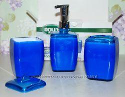 Набор в ванную 3в1 - дозатор, подставка для зубных щеток и коробочка с крыш