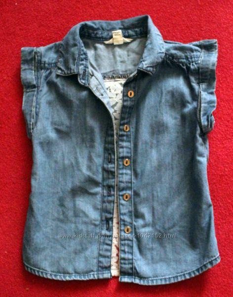 Блуза джинсовая с кружевной вставкой 12 мес.
