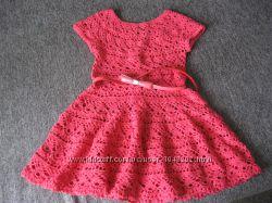 Платье коралловое  ручной работы