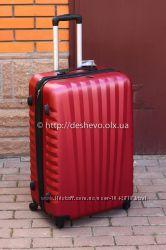 Без препоплат Чемодан дорожный бордовый красный качественный пластиковый