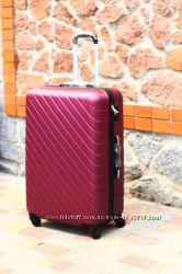 Большой бордовый чемодан пластиковый Lux качество марсала Валіза велика