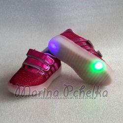 Кроссовки кеды для девочки со светящейся подошвой р 26, 29. 16, 2 и 18, 3 см