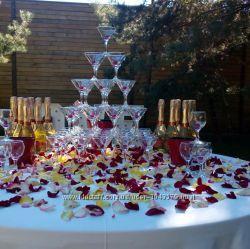 Пирамида с бокалов шампанского