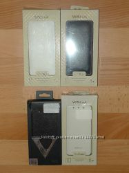 Чехол книжка и чехол флип Vetti для HTC One mini M4, черный и белый.